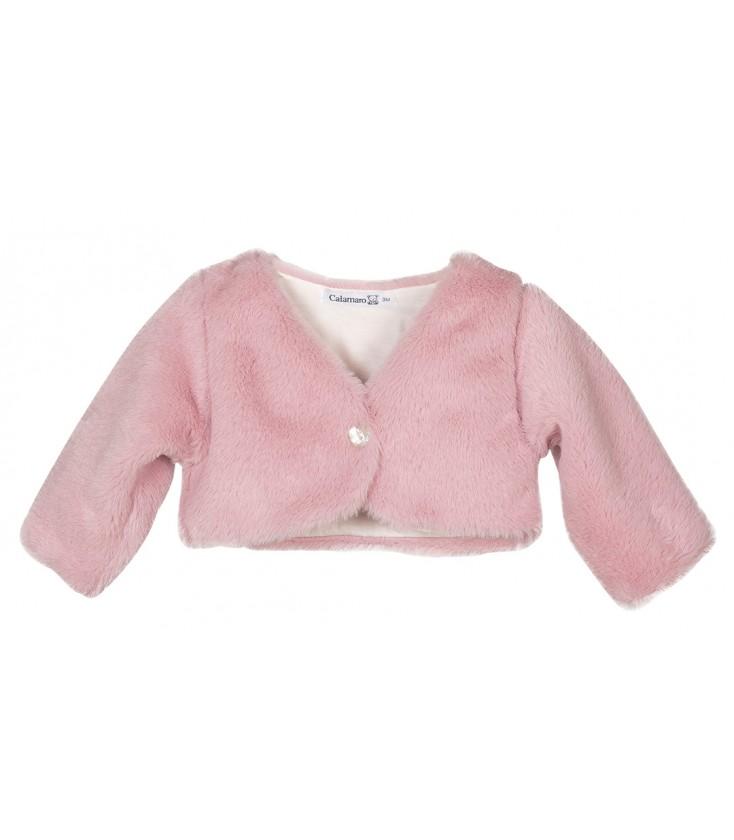 Chaqueta de pelo rosa para bebé de Calamaro - Adriels Moda Infantil b67b38dd8b83