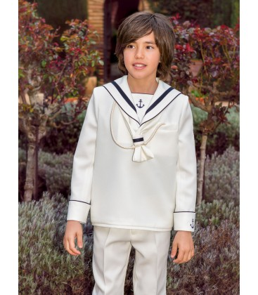 Traje marinero anclas para primera comunión de Alfa 3 - Crudo-Marino