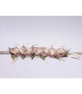 Tira de flores marfil y rosa para Primera Comunión