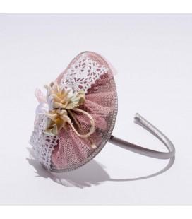 Diadema de ceremonia para niña de Floritur -  Rosa Emplvado