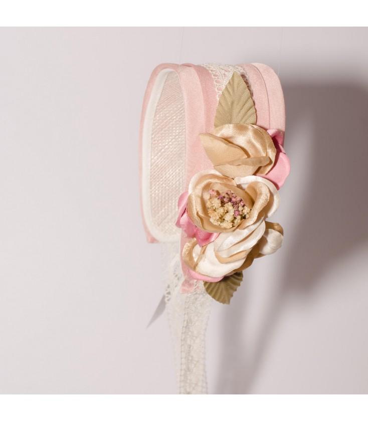515d5aa4f Media capota rosa empolvado para primera comunión de Floritur ...